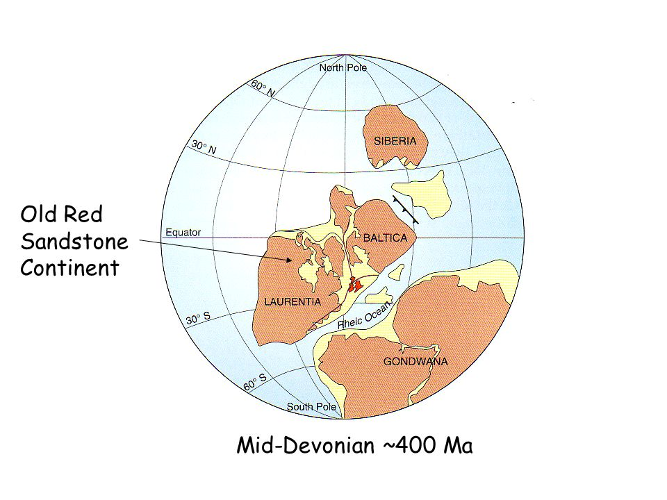 Mid-Devonian ~400 Ma Old Red Sandstone Continent