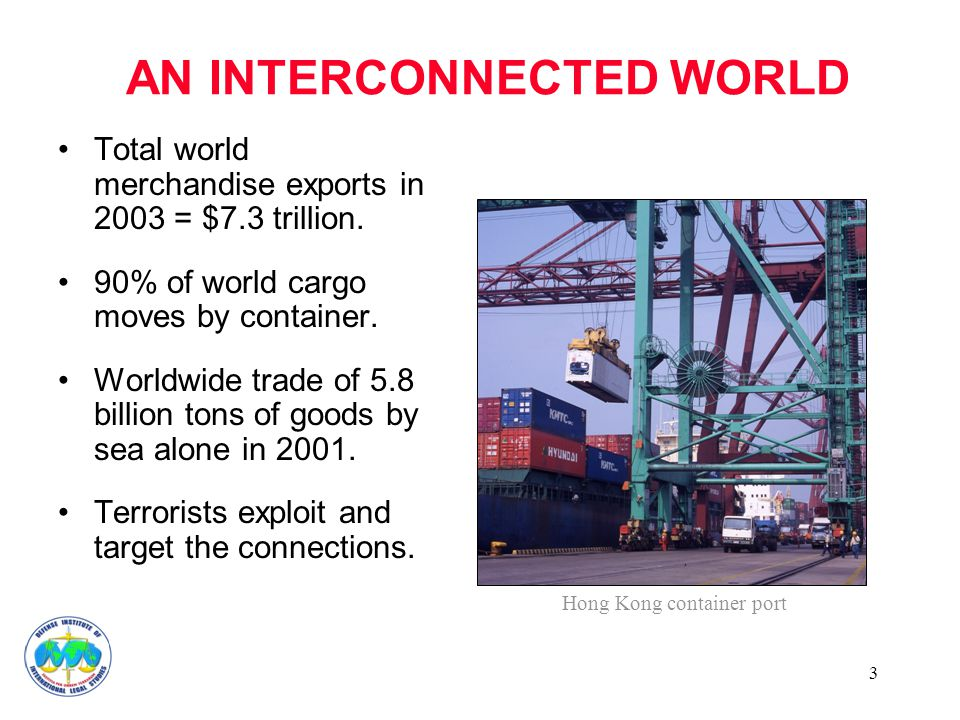 3 AN INTERCONNECTED WORLD Total world merchandise exports in 2003 = $7.3 trillion. 90% of world cargo moves by container. Worldwide trade of 5.8 billi