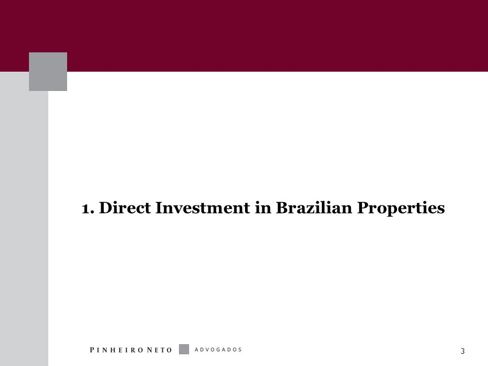 14 Permitted Investments  Real estate properties and rights  Equity of real estate companies  SPEs with real estate business  Other funds (FIPs, FIIs, FIDCs)  Real estate receivables certificates (CRIs) and other instruments  Possibility of funds for QIBs – waiver of requirements (e.g., prospectus)  New flexibility on approval of acts (change in bylaws, new quotas)  Appraisal reports – approved by quotaholders - not necessarily market value  Law 12,024 - shall stimulate acquisition of CRIs and other instruments FII Investments