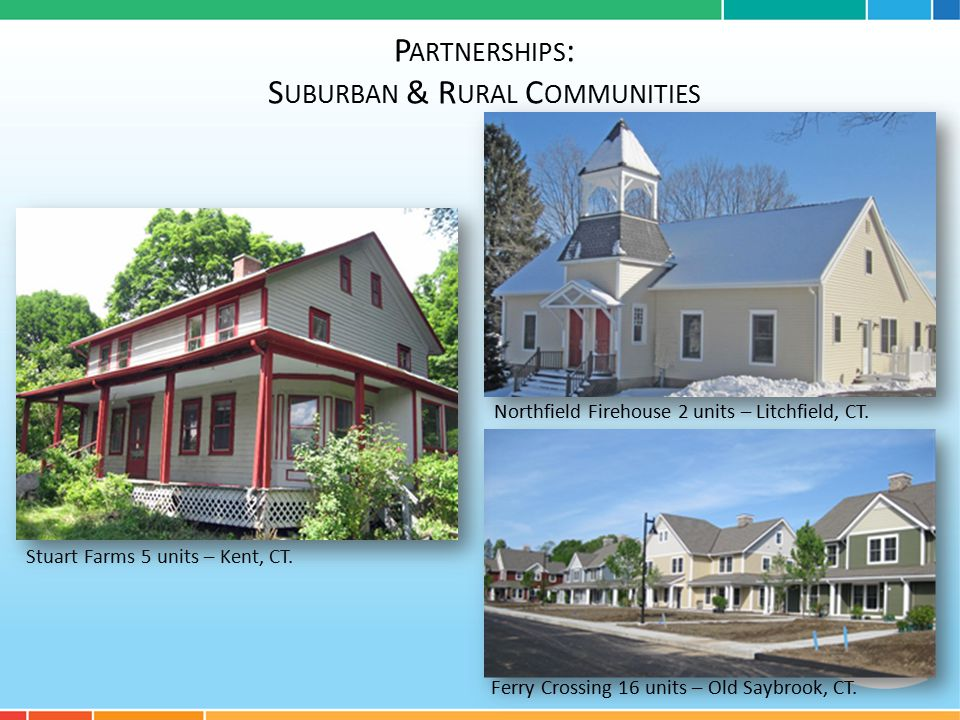 P ARTNERSHIPS : S UBURBAN & R URAL C OMMUNITIES Stuart Farms 5 units – Kent, CT.
