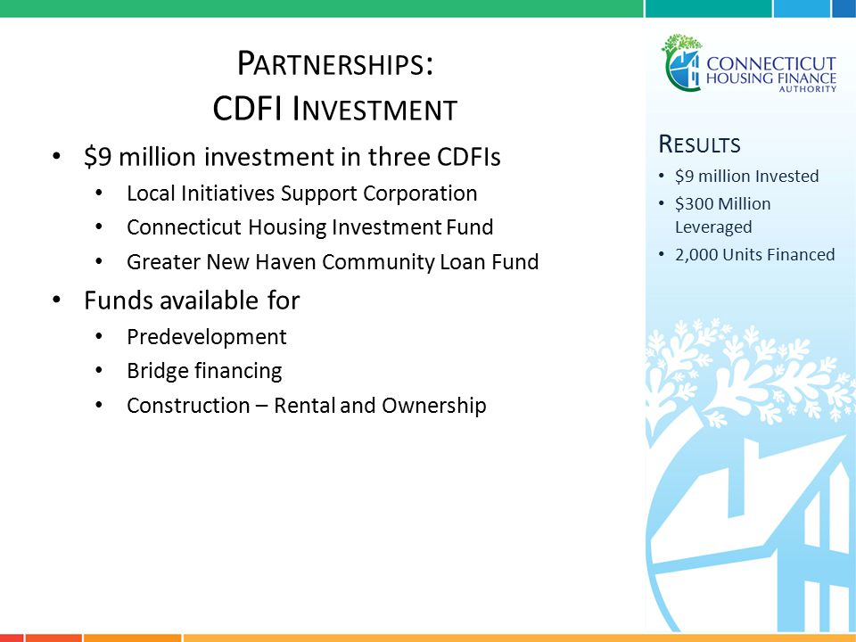 P ARTNERSHIPS : CDFI I NVESTMENT R ESULTS $9 million Invested $300 Million Leveraged 2,000 Units Financed $9 million investment in three CDFIs Local Initiatives Support Corporation Connecticut Housing Investment Fund Greater New Haven Community Loan Fund Funds available for Predevelopment Bridge financing Construction – Rental and Ownership