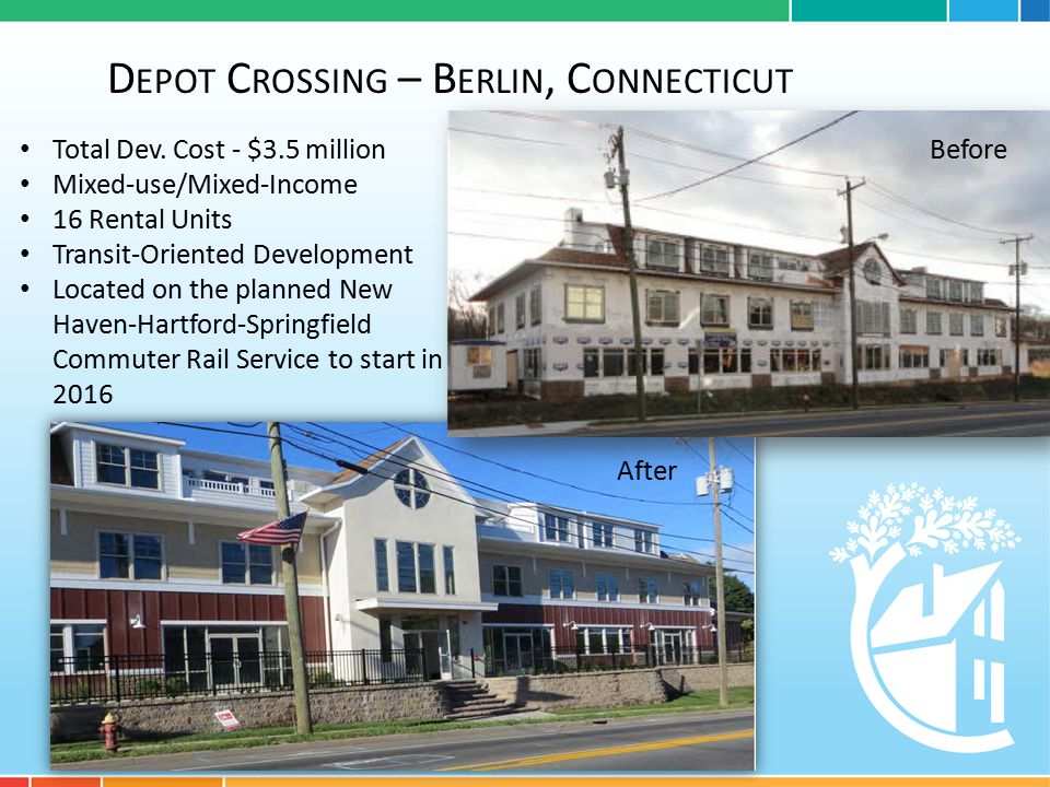 D EPOT C ROSSING – B ERLIN, C ONNECTICUT Total Dev. Cost - $3.5 million Mixed-use/Mixed-Income 16 Rental Units Transit-Oriented Development Located on