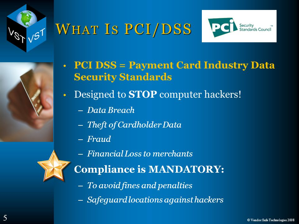 © Vendor Safe Technologies 2008 W HAT I S PCI/DSS PCI DSS = Payment Card Industry Data Security Standards Designed to STOP computer hackers.