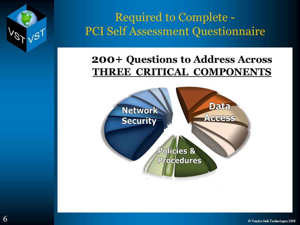 © Vendor Safe Technologies 2008 6 Required to Complete - PCI Self Assessment Questionnaire 200+ Questions to Address Across THREE CRITICAL COMPONENTS