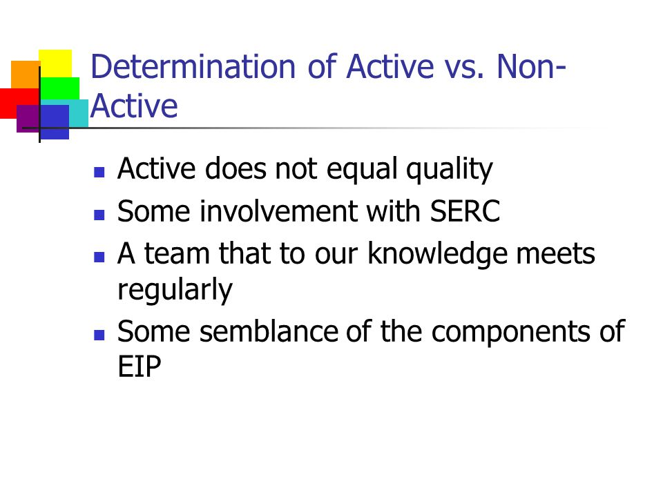 Determination of Active vs.