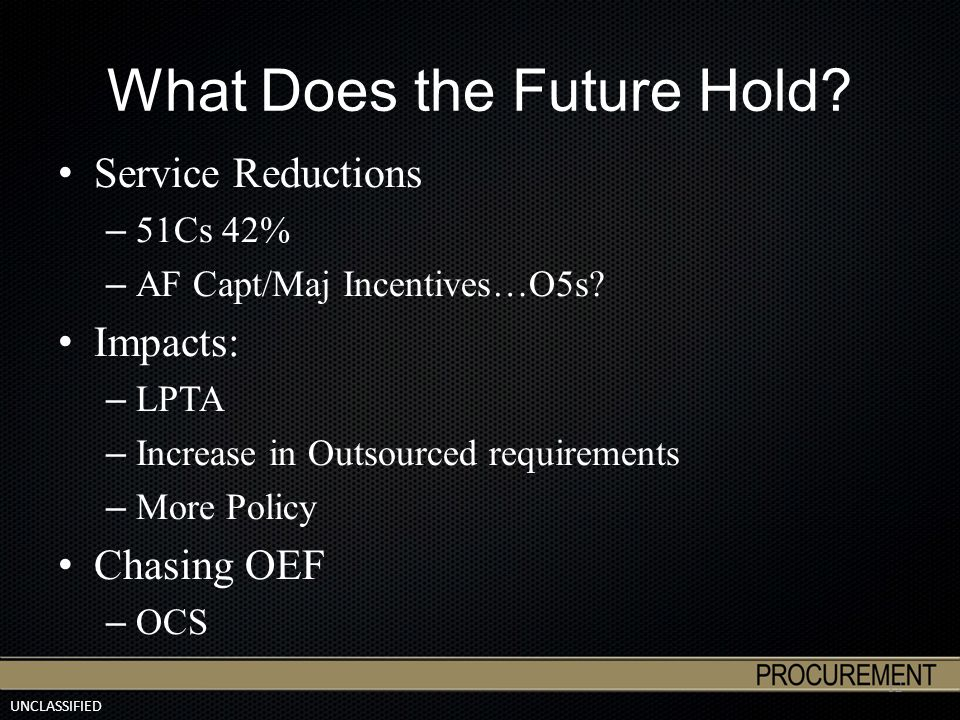 UNCLASSIFIED What Does the Future Hold? Service Reductions – 51Cs 42% – AF Capt/Maj Incentives…O5s? Impacts: – LPTA – Increase in Outsourced requireme
