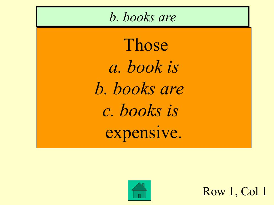 Row 1, Col 1 Those a. book is b. books are c. books is expensive. b. books are