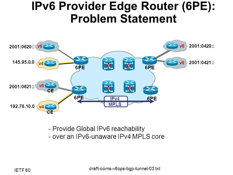 IETF 60 draft-ooms-v6ops-bgp-tunnel-03.txt P P P P v6 IPv4 MPLS v4 v6 v4 v6 CE 6PE 2001:0421:: 2001:0420:: 192.76.10.0 145.95.0.0 2001:0621:: 2001:0620:: IPv6 Provider Edge Router (6PE): Problem Statement - Provide Global IPv6 reachability - over an IPv6-unaware IPv4 MPLS core
