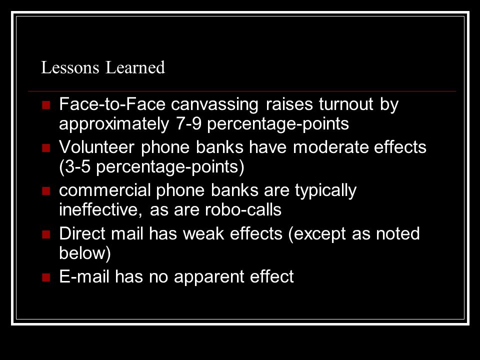 Lessons Learned Face-to-Face canvassing raises turnout by approximately 7-9 percentage-points Volunteer phone banks have moderate effects (3-5 percentage-points) commercial phone banks are typically ineffective, as are robo-calls Direct mail has weak effects (except as noted below) E-mail has no apparent effect