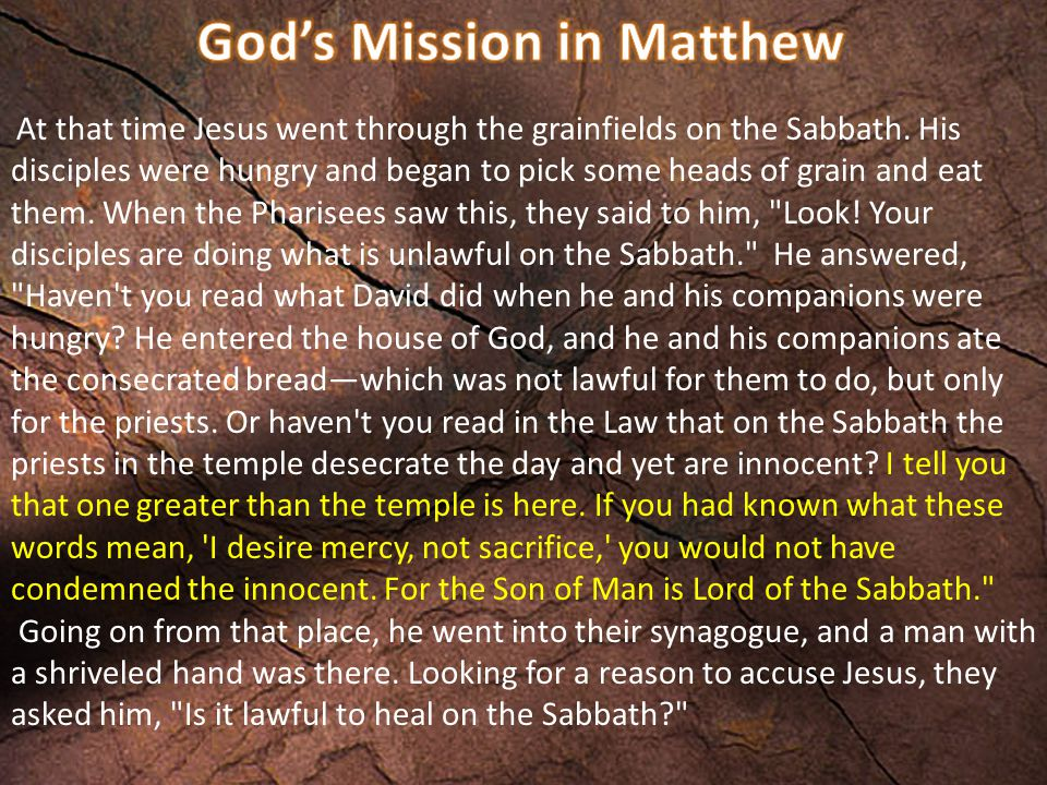 At that time Jesus went through the grainfields on the Sabbath.