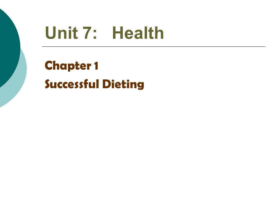 Unit 7: Health Chapter 1 Successful Dieting