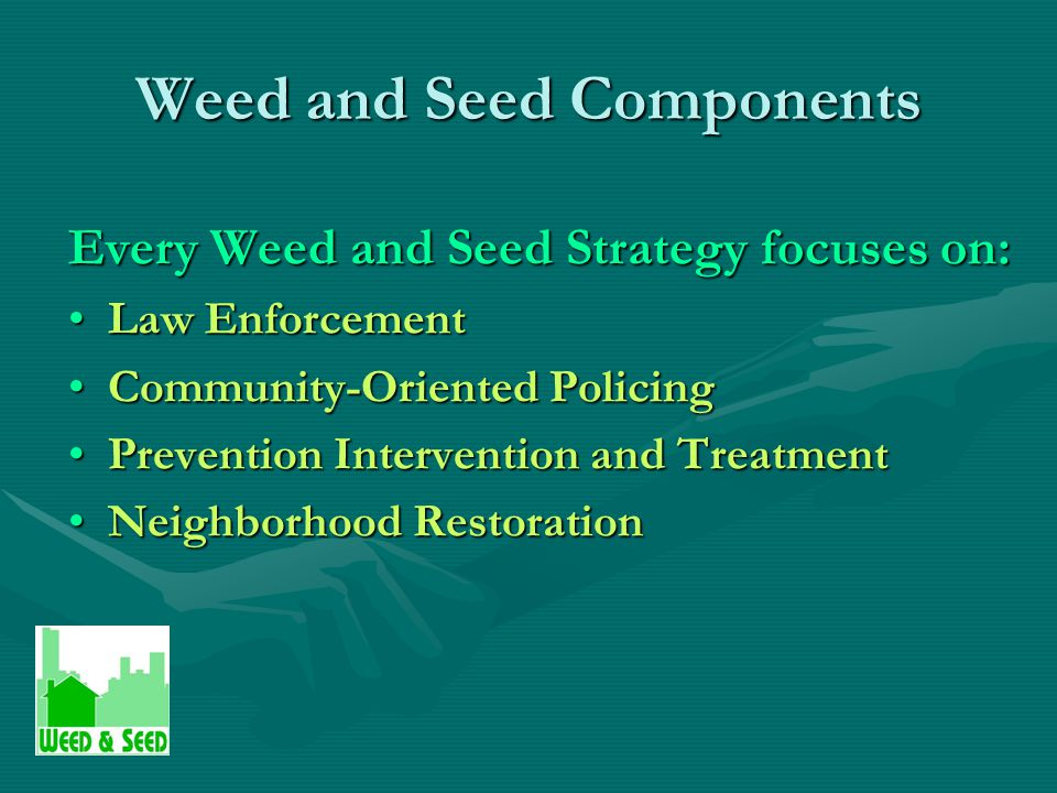 Weed and Seed Components Every Weed and Seed Strategy focuses on: Law EnforcementLaw Enforcement Community-Oriented PolicingCommunity-Oriented Policing Prevention Intervention and TreatmentPrevention Intervention and Treatment Neighborhood RestorationNeighborhood Restoration