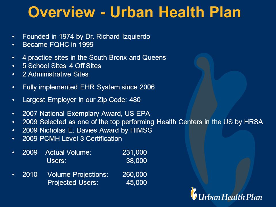Overview - Urban Health Plan Founded in 1974 by Dr.