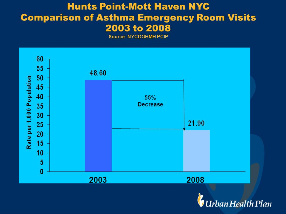 Hunts Point-Mott Haven NYC Comparison of Asthma Emergency Room Visits 2003 to 2008 Source: NYCDOHMH PCIP 20032008 55% Decrease