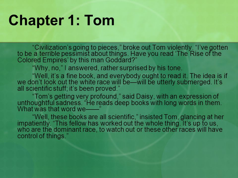 Chapter 1: Tom Civilization's going to pieces, broke out Tom violently.