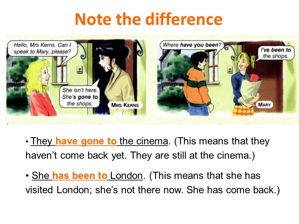 Note the difference They have gone to the cinema. (This means that they haven't come back yet. They are still at the cinema.) She has been to London.