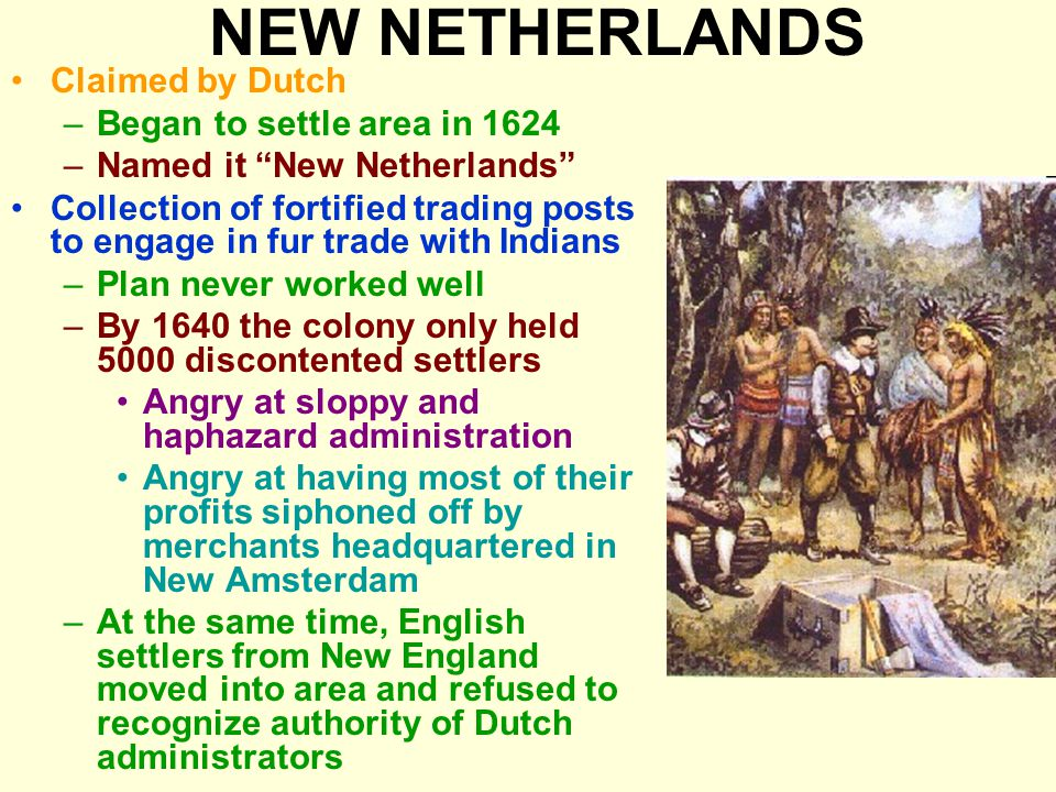 NEW NETHERLANDS Claimed by Dutch –Began to settle area in 1624 –Named it New Netherlands Collection of fortified trading posts to engage in fur trade with Indians –Plan never worked well –By 1640 the colony only held 5000 discontented settlers Angry at sloppy and haphazard administration Angry at having most of their profits siphoned off by merchants headquartered in New Amsterdam –At the same time, English settlers from New England moved into area and refused to recognize authority of Dutch administrators