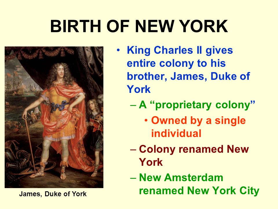 BIRTH OF NEW YORK King Charles II gives entire colony to his brother, James, Duke of York –A proprietary colony Owned by a single individual –Colony renamed New York –New Amsterdam renamed New York City James, Duke of York