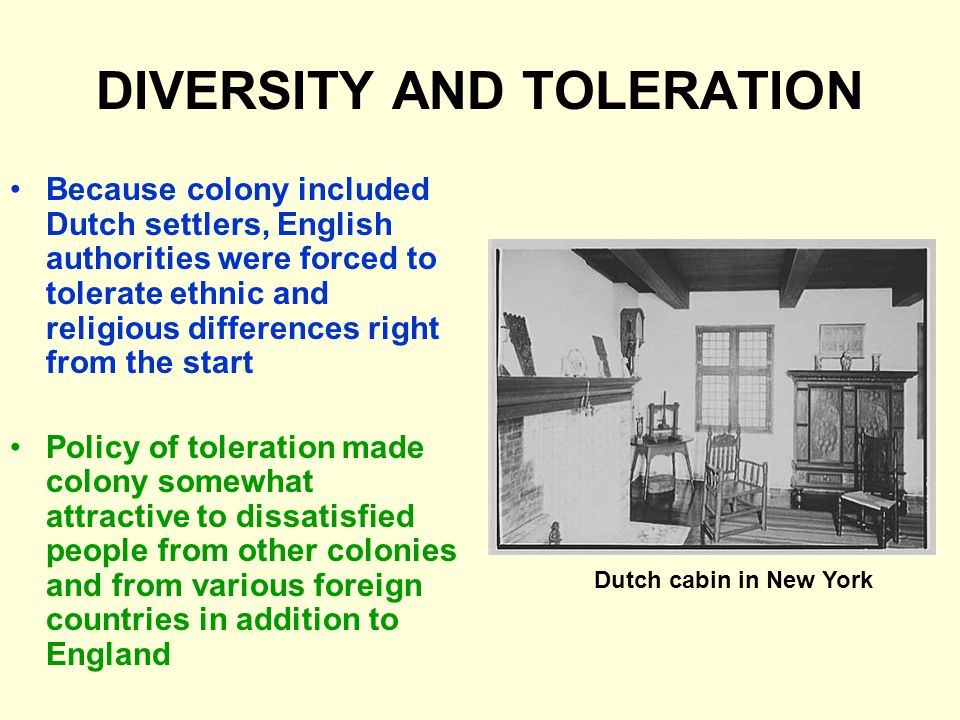DIVERSITY AND TOLERATION Because colony included Dutch settlers, English authorities were forced to tolerate ethnic and religious differences right from the start Policy of toleration made colony somewhat attractive to dissatisfied people from other colonies and from various foreign countries in addition to England Dutch cabin in New York