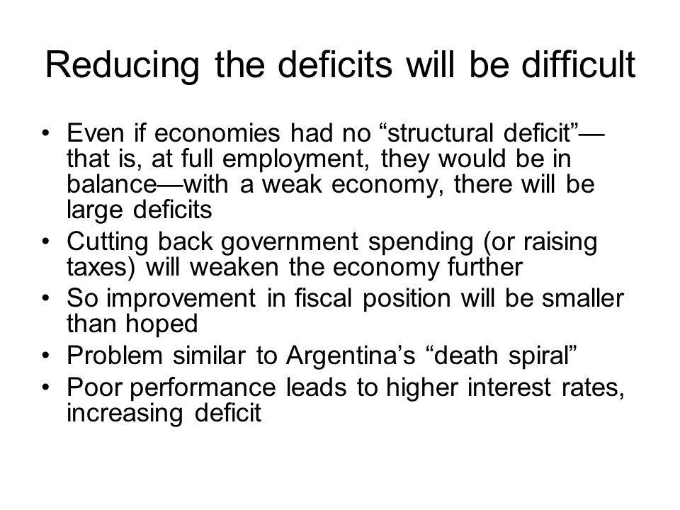 Reducing the deficits will be difficult Even if economies had no structural deficit — that is, at full employment, they would be in balance—with a weak economy, there will be large deficits Cutting back government spending (or raising taxes) will weaken the economy further So improvement in fiscal position will be smaller than hoped Problem similar to Argentina's death spiral Poor performance leads to higher interest rates, increasing deficit
