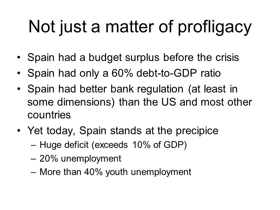 Not just a matter of profligacy Spain had a budget surplus before the crisis Spain had only a 60% debt-to-GDP ratio Spain had better bank regulation (at least in some dimensions) than the US and most other countries Yet today, Spain stands at the precipice –Huge deficit (exceeds 10% of GDP) –20% unemployment –More than 40% youth unemployment