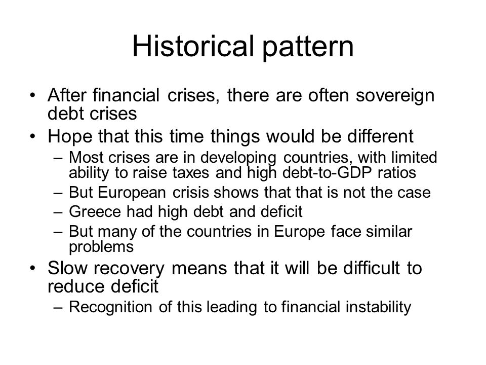 Historical pattern After financial crises, there are often sovereign debt crises Hope that this time things would be different –Most crises are in developing countries, with limited ability to raise taxes and high debt-to-GDP ratios –But European crisis shows that that is not the case –Greece had high debt and deficit –But many of the countries in Europe face similar problems Slow recovery means that it will be difficult to reduce deficit –Recognition of this leading to financial instability