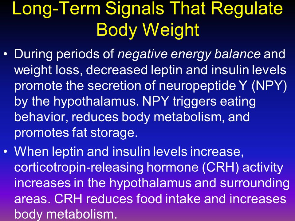Long-Term Signals That Regulate Body Weight During periods of negative energy balance and weight loss, decreased leptin and insulin levels promote the secretion of neuropeptide Y (NPY) by the hypothalamus.
