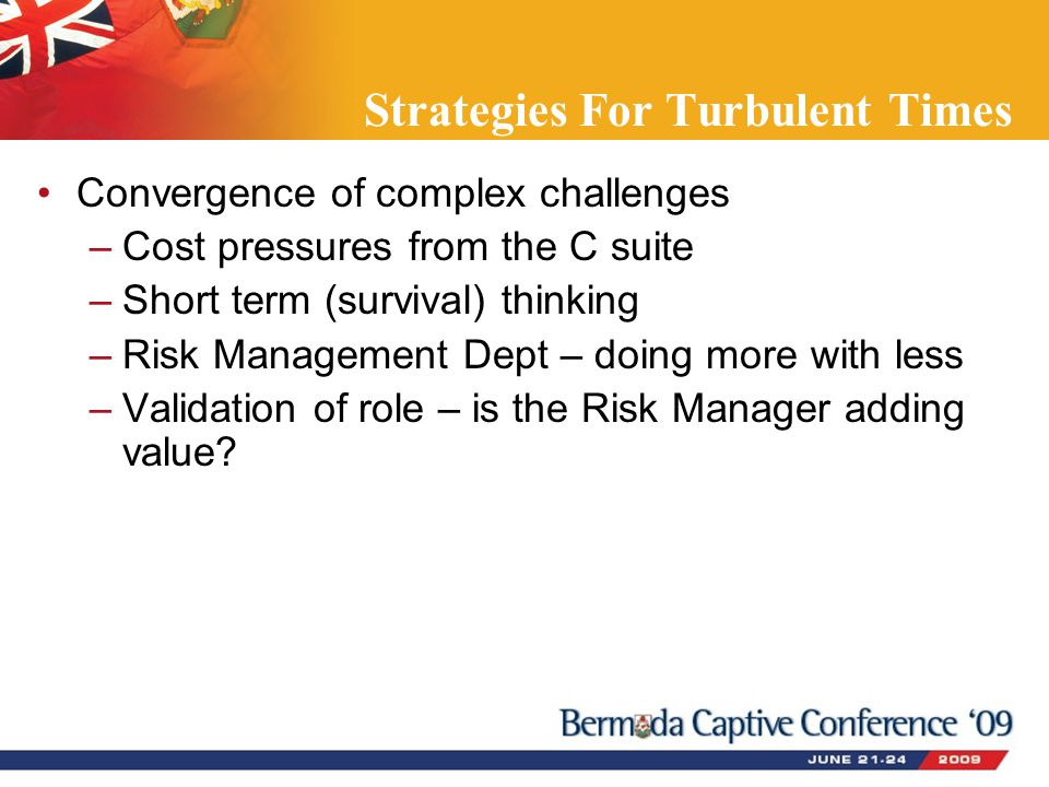 Strategies For Turbulent Times Convergence of complex challenges –Cost pressures from the C suite –Short term (survival) thinking –Risk Management Dept – doing more with less –Validation of role – is the Risk Manager adding value