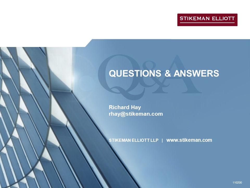 110200 QUESTIONS & ANSWERS Richard Hay rhay@stikeman.com STIKEMAN ELLIOTT LLP | www.stikeman.com
