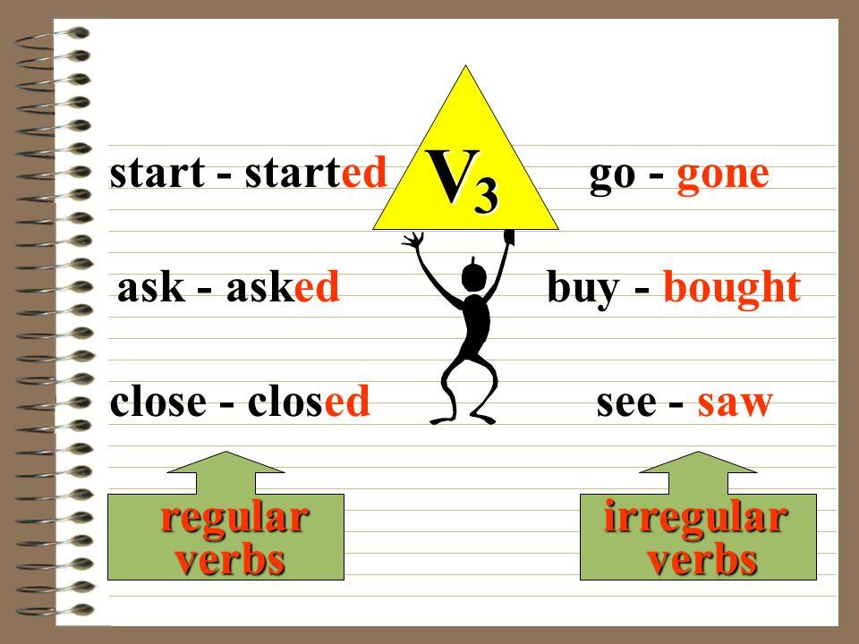 V 3 regular verbs irregular verbs start - started ask - asked close - closed go - gone buy - bought see - saw