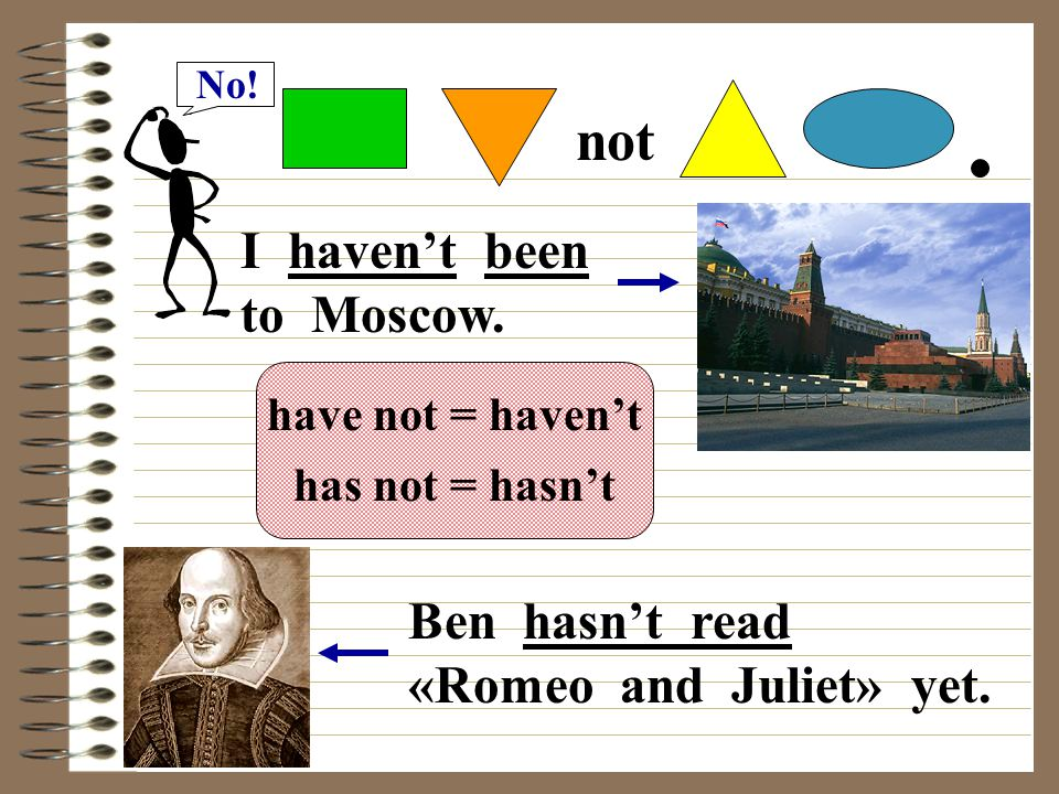 No! not I haven't been to Moscow. have not = haven't has not = hasn't Ben hasn't read «Romeo and Juliet» yet.