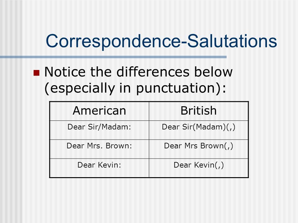 Correspondence-Salutations Notice the differences below (especially in punctuation): AmericanBritish Dear Sir/Madam:Dear Sir(Madam)(,) Dear Mrs.
