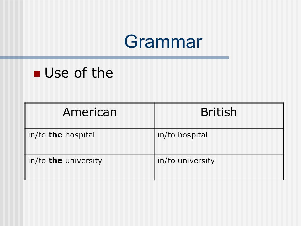 Grammar Use of prepositions, adverbs, etc.AmericanBritish On weekends.At weekends.