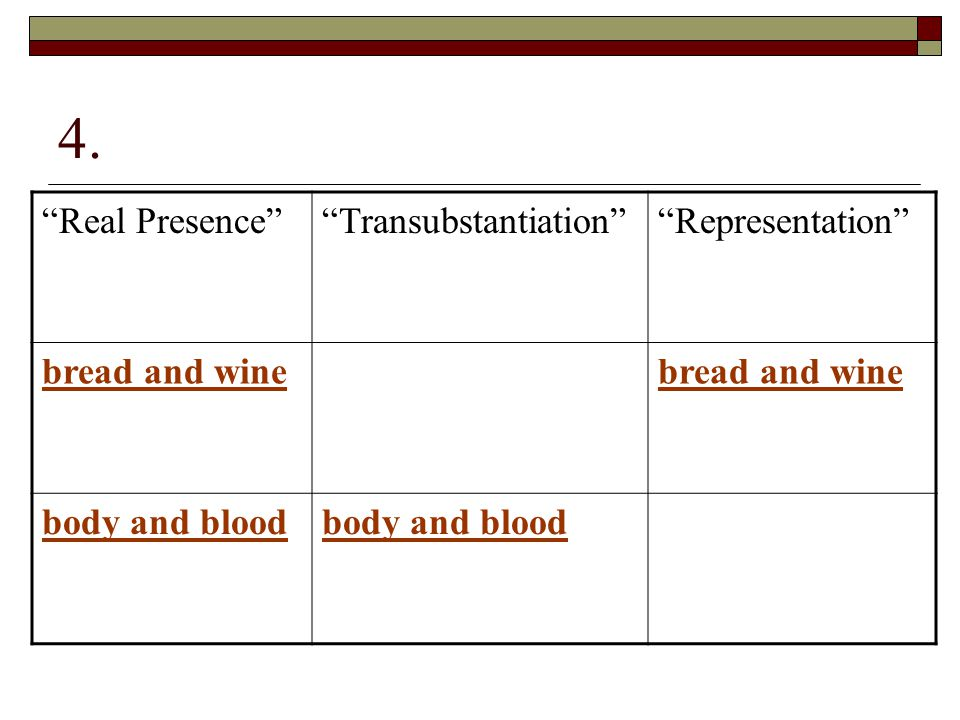 4. Real Presence Transubstantiation Representation bread and wine body and blood