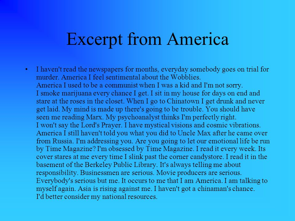 Excerpt from America I haven t read the newspapers for months, everyday somebody goes on trial for murder.