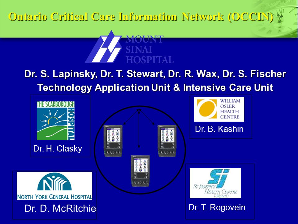 Dr. B. Kashin Dr. H. Clasky Dr. T. Rogovein Dr. D. McRitchie Ontario Critical Care Information Network (OCCIN) Dr. S. Lapinsky, Dr. T. Stewart, Dr. R.
