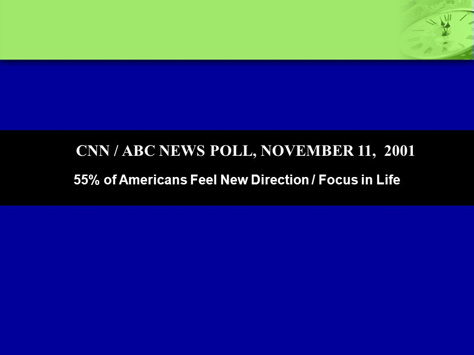 55% of Americans Feel New Direction / Focus in Life CNN / ABC NEWS POLL, NOVEMBER 11, 2001