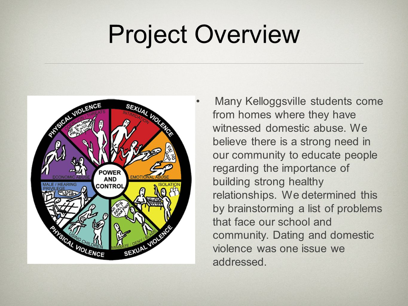 Project Overview Many Kelloggsville students come from homes where they have witnessed domestic abuse.