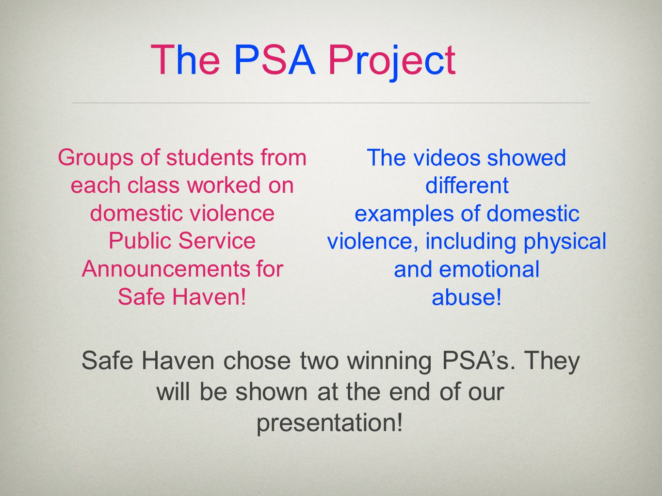 The PSA ProjectThe PSA Project Groups of students from each class worked on domestic violence Public Service Announcements for Safe Haven.