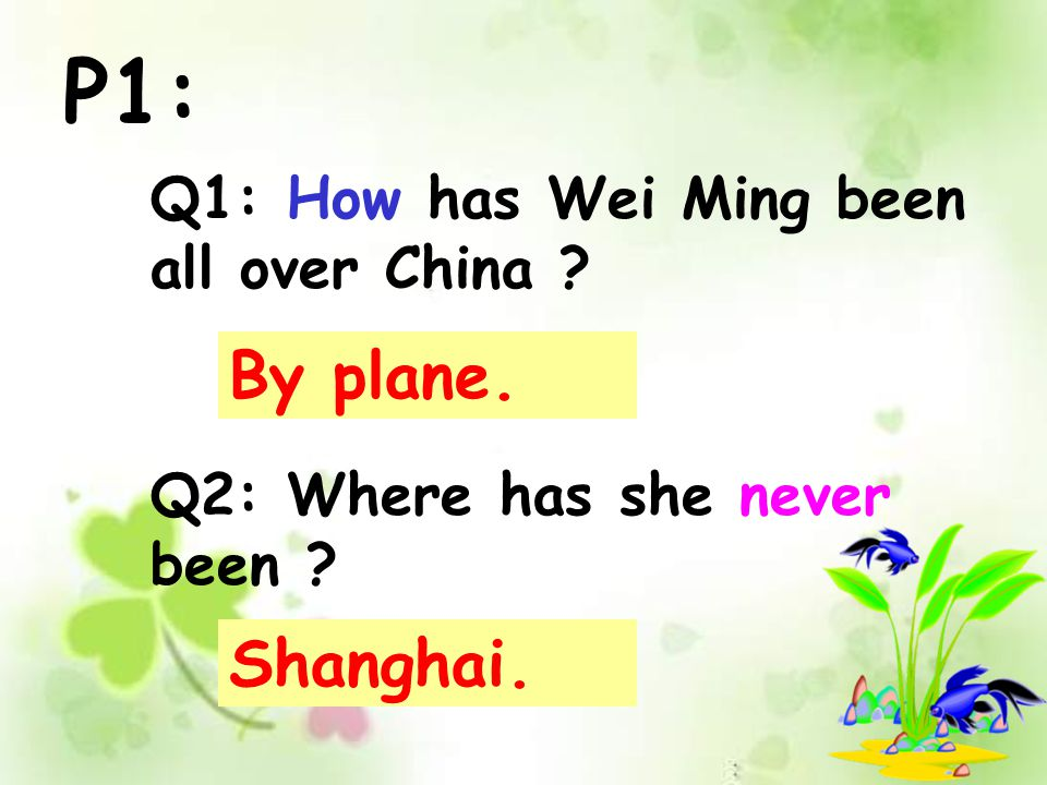 P1: Q1: How has Wei Ming been all over China ? Q2: Where has she never been ? By plane. Shanghai.