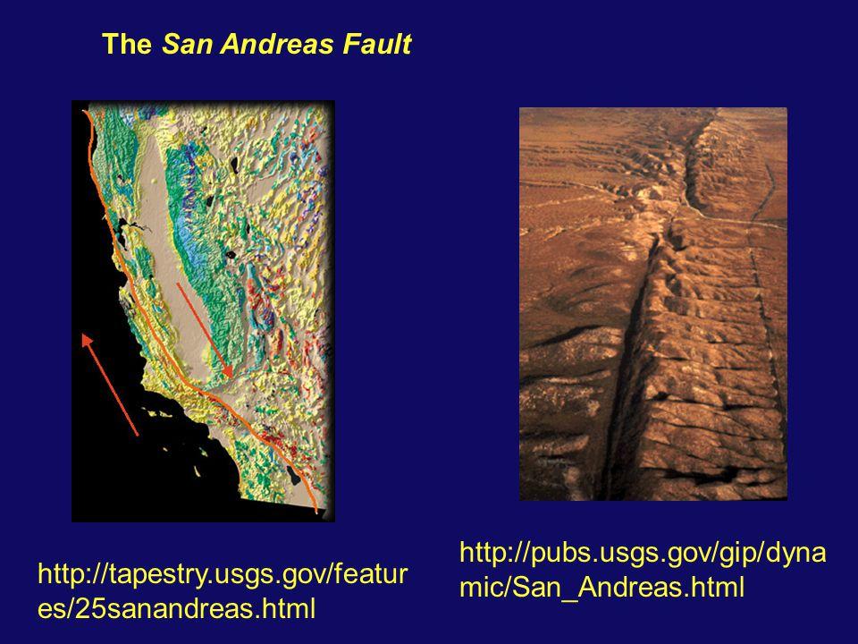 The San Andreas Fault http://pubs.usgs.gov/gip/dyna mic/San_Andreas.html http://tapestry.usgs.gov/featur es/25sanandreas.html