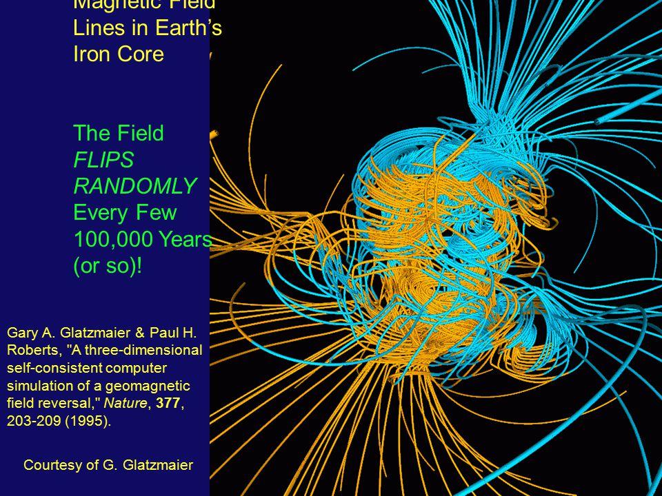 Courtesy of G. Glatzmaier Magnetic Field Lines in Earth's Iron Core The Field FLIPS RANDOMLY Every Few 100,000 Years (or so)! Gary A. Glatzmaier & Pau