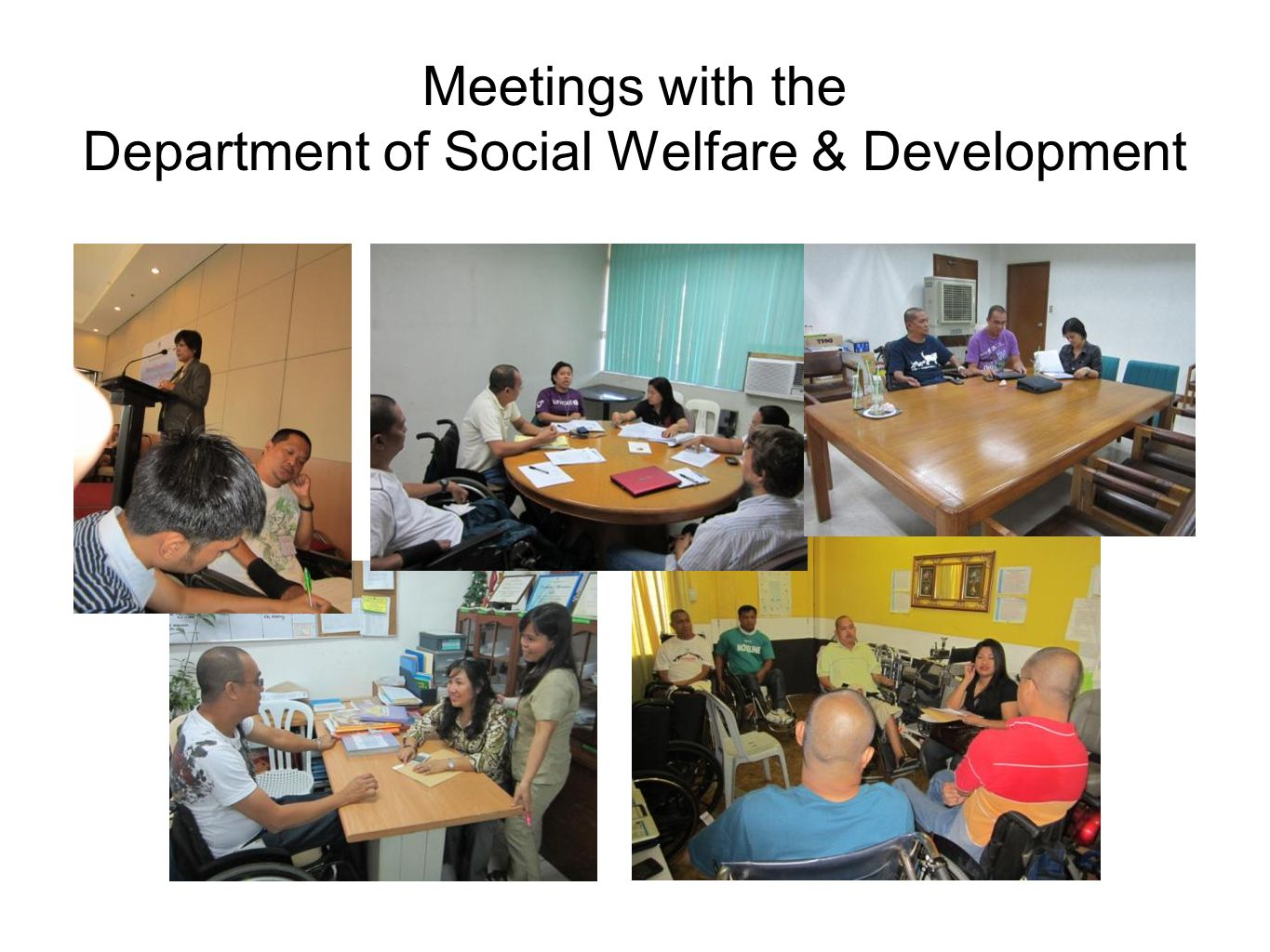 Meetings with the Department of Social Welfare & Development