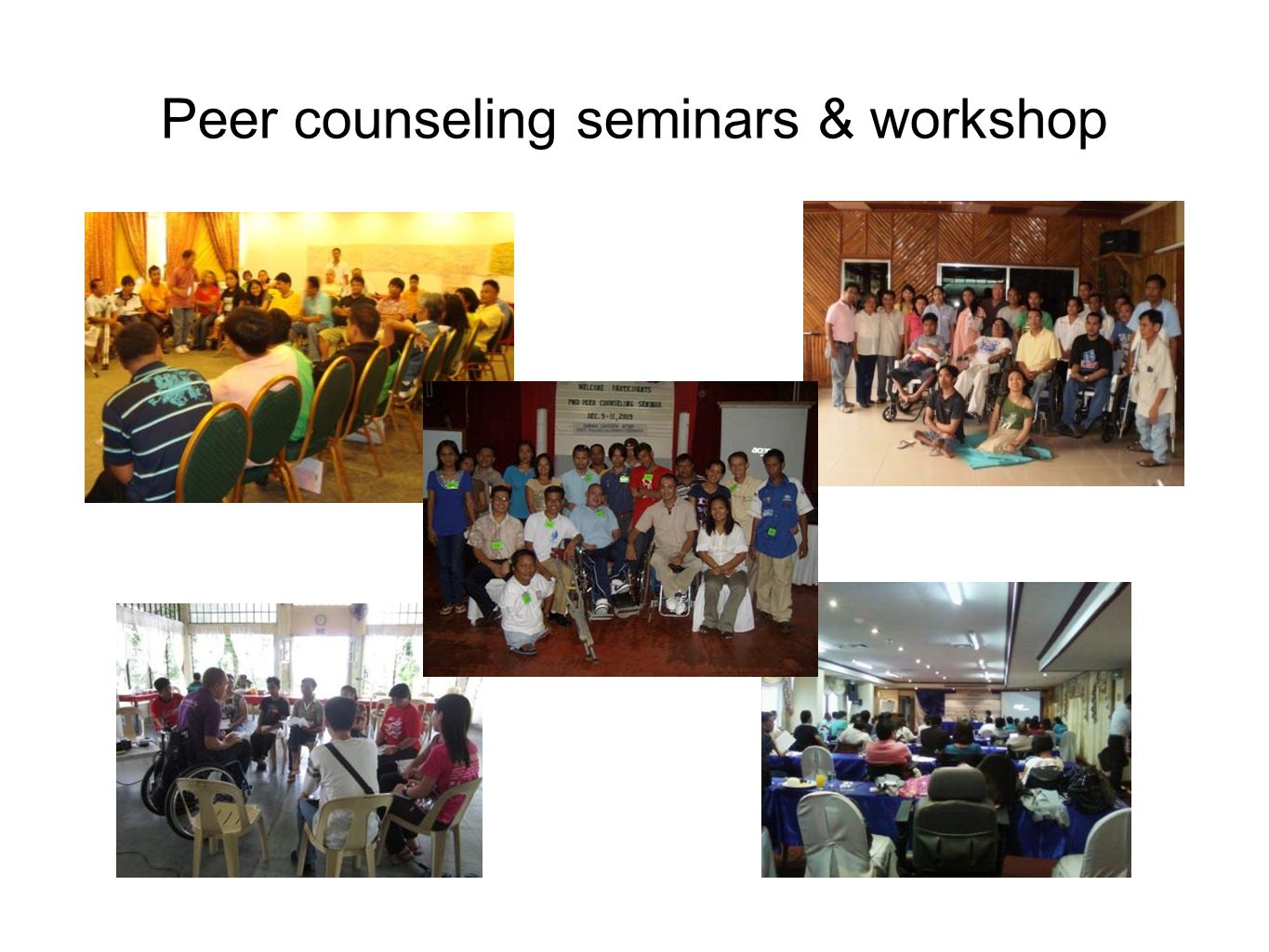 Peer counseling seminars & workshop