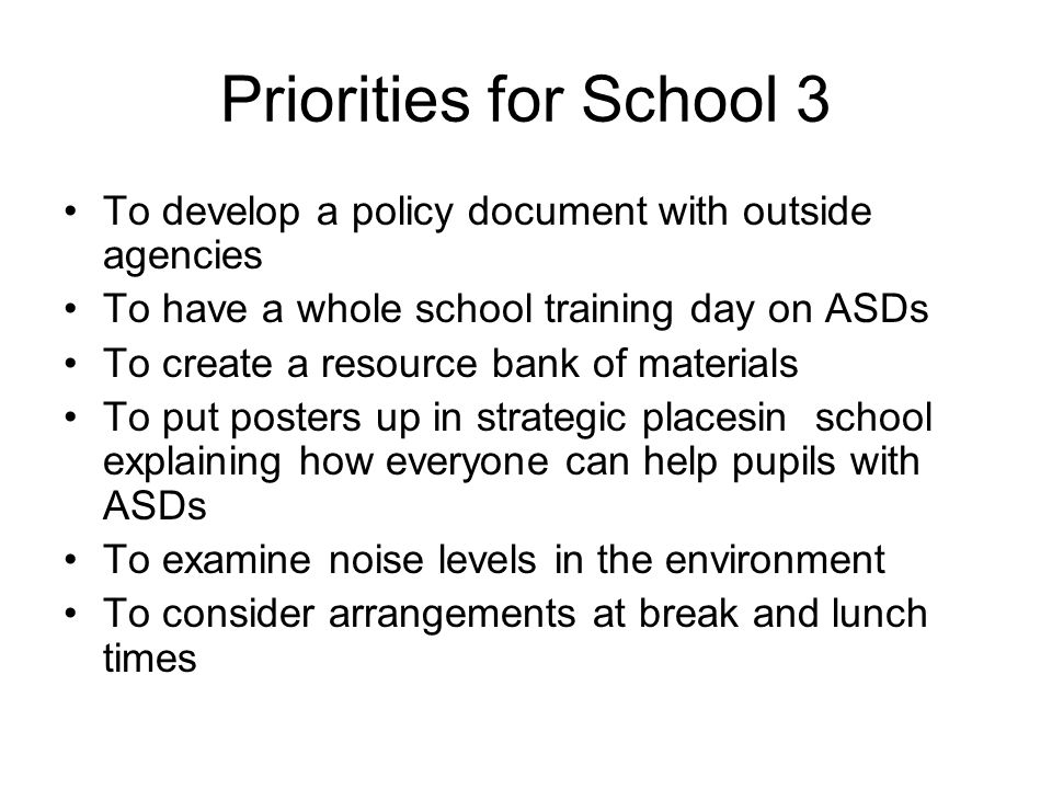 Priorities for School 3 To develop a policy document with outside agencies To have a whole school training day on ASDs To create a resource bank of materials To put posters up in strategic placesin school explaining how everyone can help pupils with ASDs To examine noise levels in the environment To consider arrangements at break and lunch times