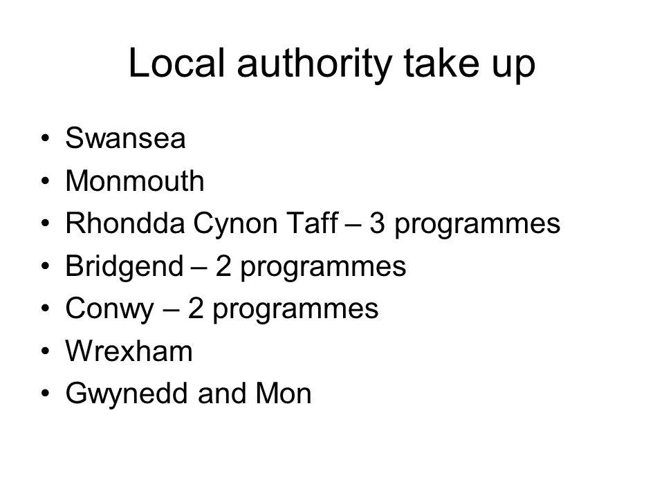 Local authority take up Swansea Monmouth Rhondda Cynon Taff – 3 programmes Bridgend – 2 programmes Conwy – 2 programmes Wrexham Gwynedd and Mon