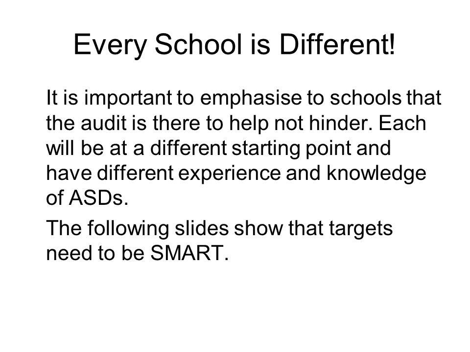 Every School is Different.