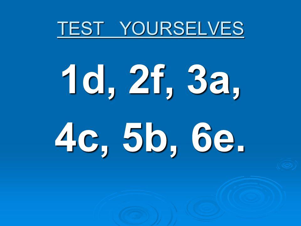 TEST YOURSELVES 1d, 2f, 3a,1d, 2f, 3a,1d, 2f, 3a,1d, 2f, 3a, 4c, 5b, 6e.4c, 5b, 6e.4c, 5b, 6e.4c, 5b, 6e.
