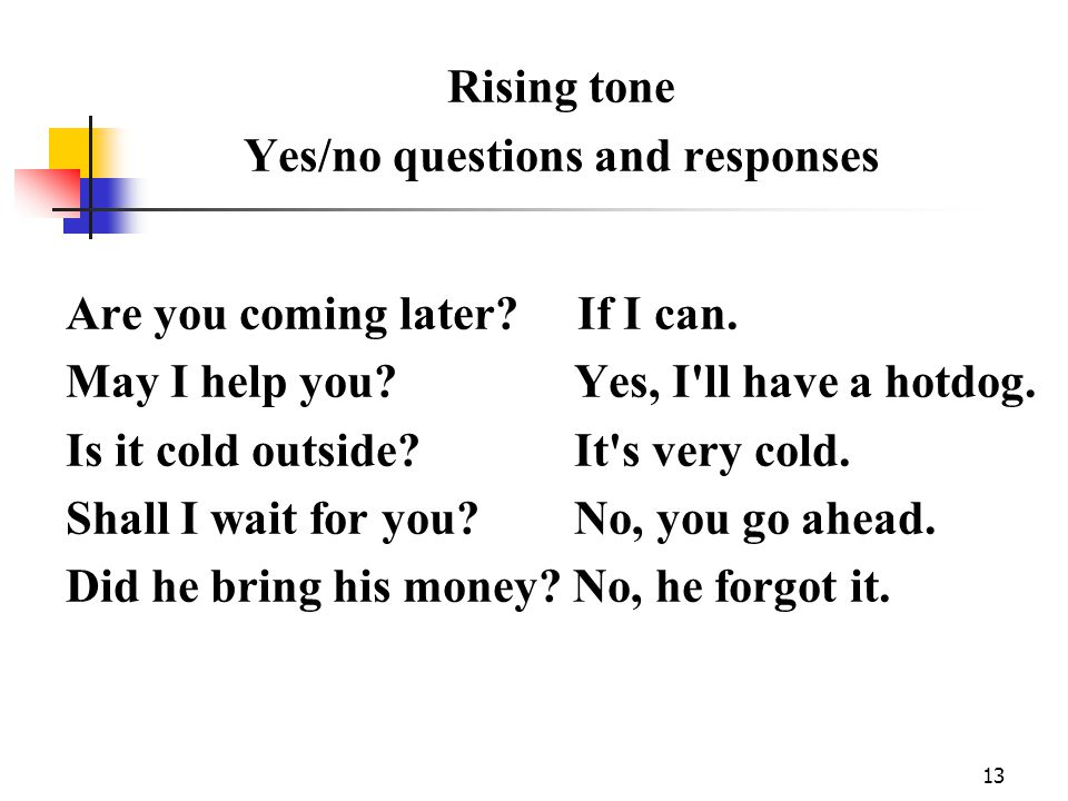 13 Rising tone Yes/no questions and responses Are you coming later.