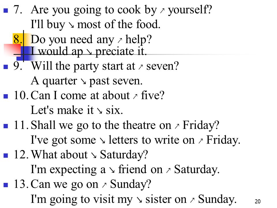 20 7.Are you going to cook by ↗ yourself. I ll buy ↘ most of the food.